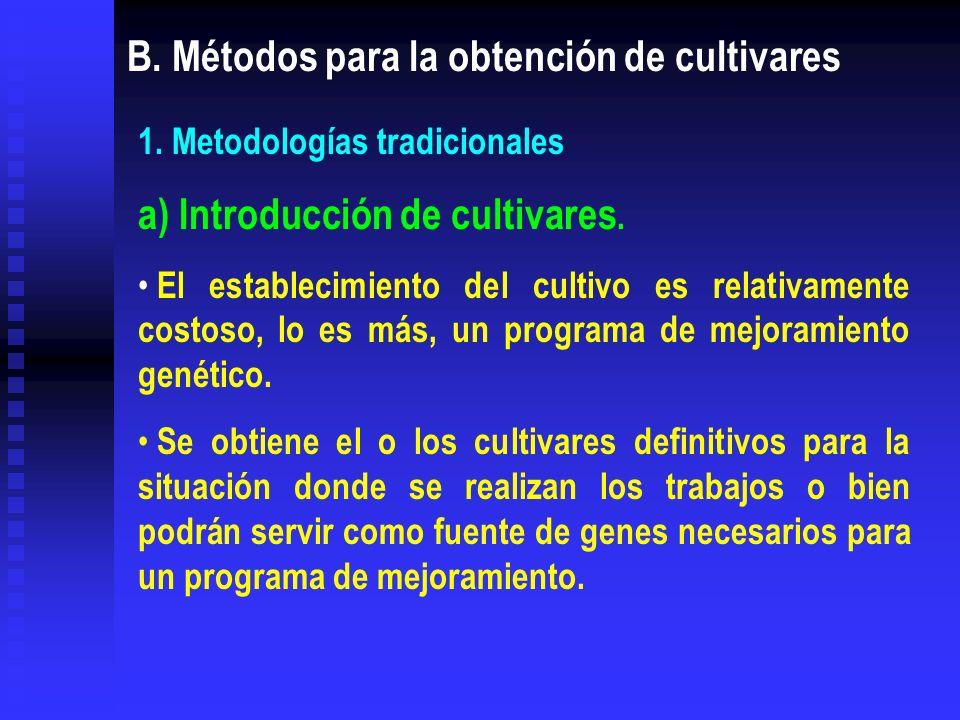 B. Métodos para la obtención de cultivares