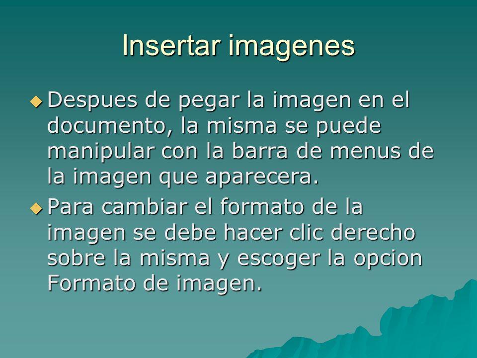 Insertar imagenesDespues de pegar la imagen en el documento, la misma se puede manipular con la barra de menus de la imagen que aparecera.