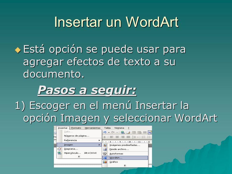 Insertar un WordArtEstá opción se puede usar para agregar efectos de texto a su documento. Pasos a seguir: