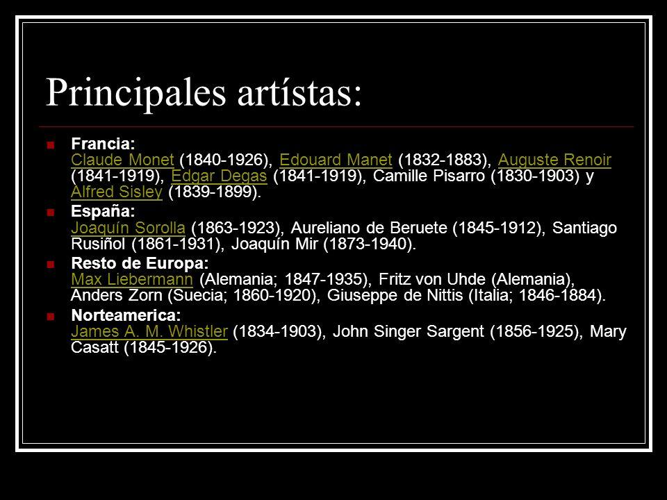 Principales artístas: