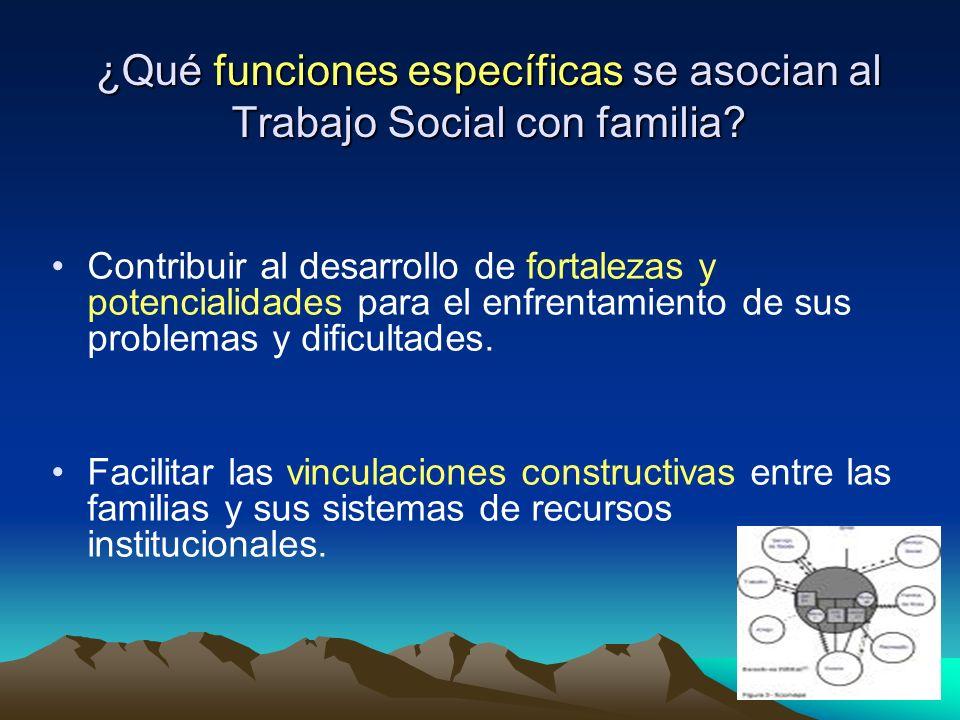 ¿Qué funciones específicas se asocian al Trabajo Social con familia