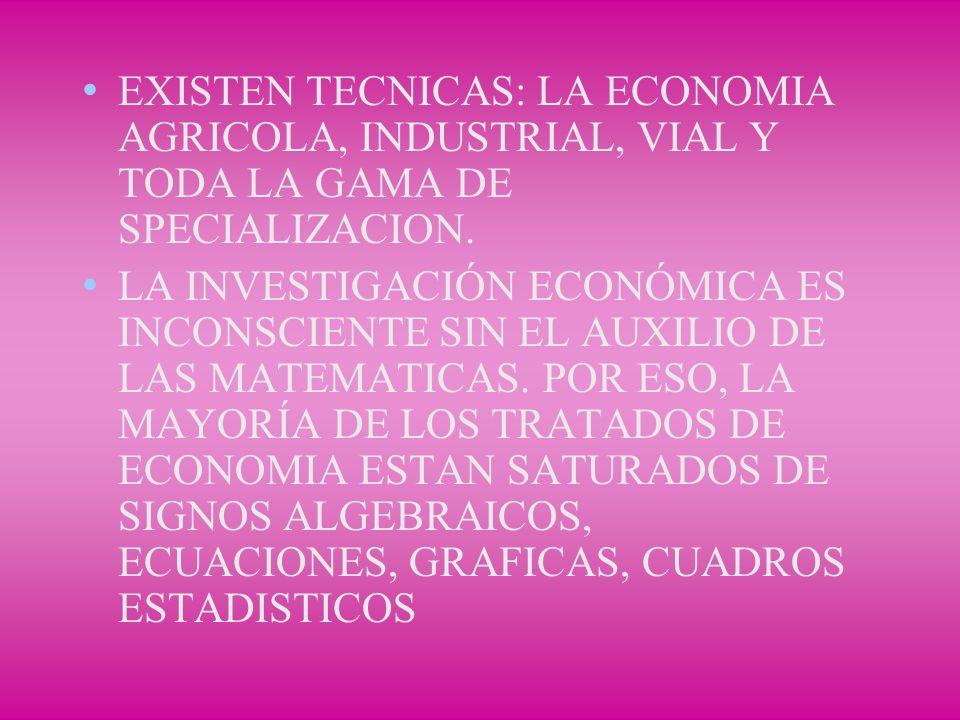 EXISTEN TECNICAS: LA ECONOMIA AGRICOLA, INDUSTRIAL, VIAL Y TODA LA GAMA DE SPECIALIZACION.