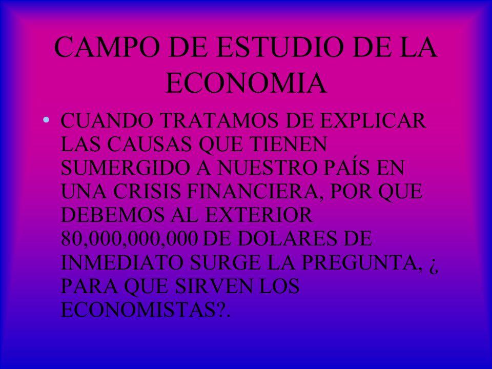 CAMPO DE ESTUDIO DE LA ECONOMIA