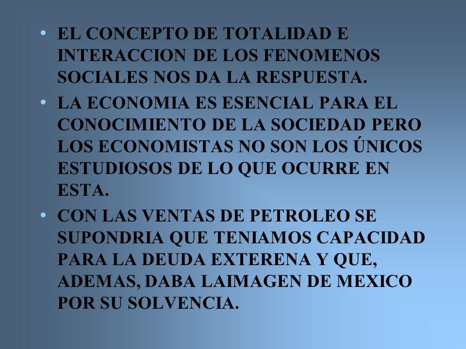 EL CONCEPTO DE TOTALIDAD E INTERACCION DE LOS FENOMENOS SOCIALES NOS DA LA RESPUESTA.