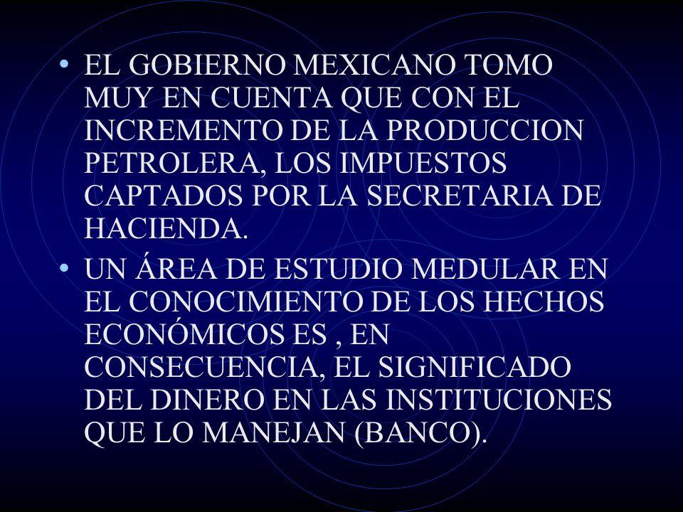 EL GOBIERNO MEXICANO TOMO MUY EN CUENTA QUE CON EL INCREMENTO DE LA PRODUCCION PETROLERA, LOS IMPUESTOS CAPTADOS POR LA SECRETARIA DE HACIENDA.