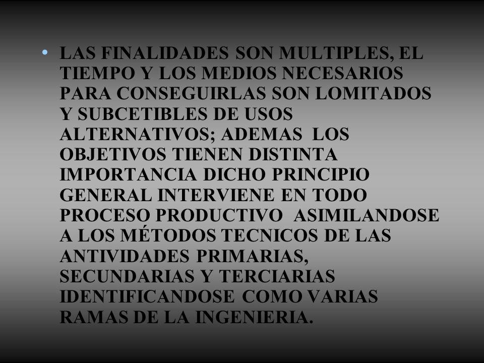 LAS FINALIDADES SON MULTIPLES, EL TIEMPO Y LOS MEDIOS NECESARIOS PARA CONSEGUIRLAS SON LOMITADOS Y SUBCETIBLES DE USOS ALTERNATIVOS; ADEMAS LOS OBJETIVOS TIENEN DISTINTA IMPORTANCIA DICHO PRINCIPIO GENERAL INTERVIENE EN TODO PROCESO PRODUCTIVO ASIMILANDOSE A LOS MÉTODOS TECNICOS DE LAS ANTIVIDADES PRIMARIAS, SECUNDARIAS Y TERCIARIAS IDENTIFICANDOSE COMO VARIAS RAMAS DE LA INGENIERIA.