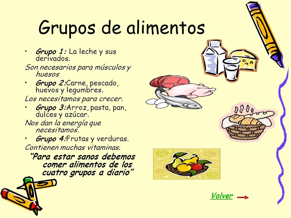 Grupos de alimentos Grupo 1: La leche y sus derivados. Son necesarios para músculos y huesos. Grupo 2:Carne, pescado, huevos y legumbres.
