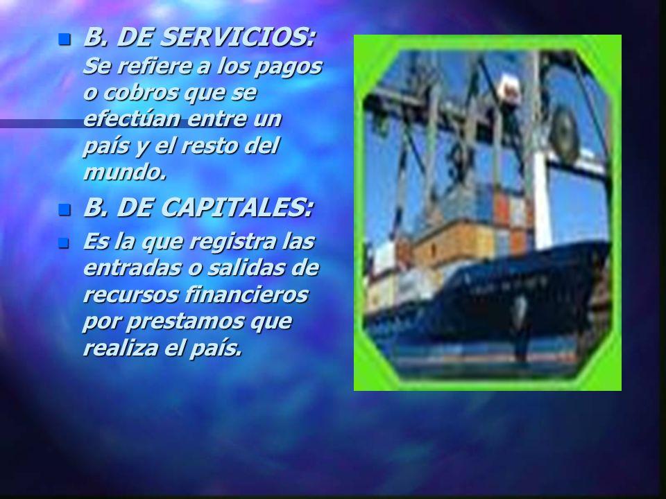 B. DE SERVICIOS: Se refiere a los pagos o cobros que se efectúan entre un país y el resto del mundo.