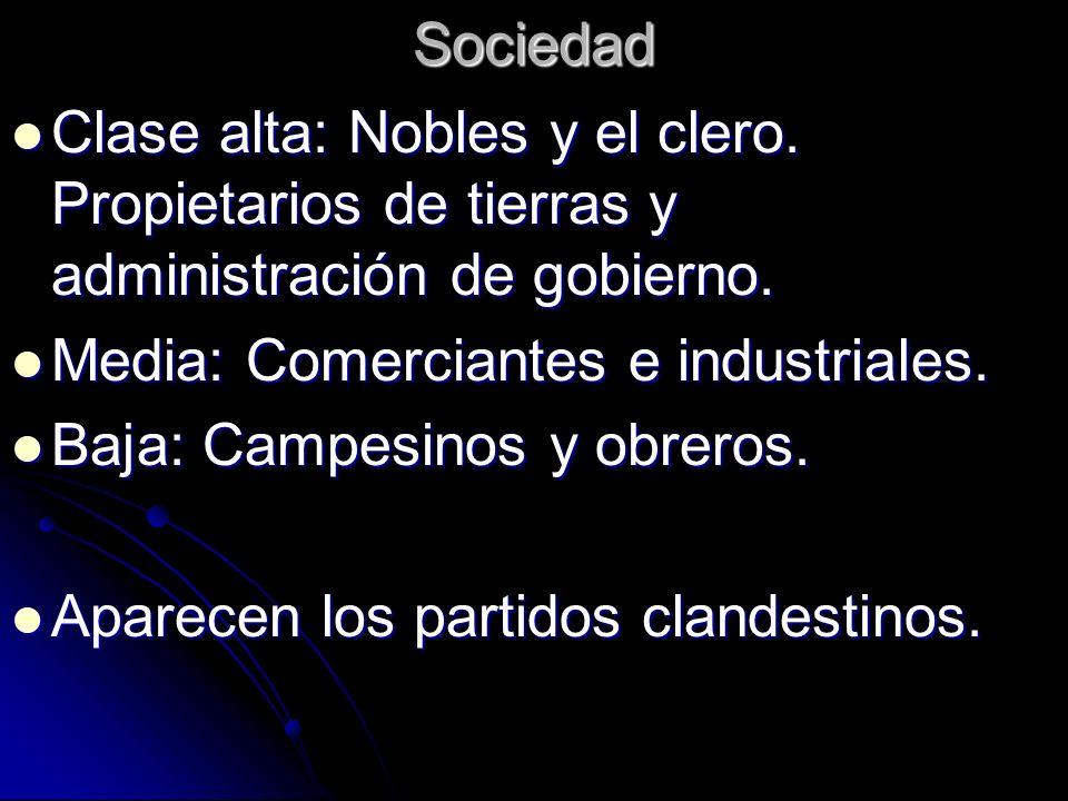 Sociedad Clase alta: Nobles y el clero. Propietarios de tierras y administración de gobierno. Media: Comerciantes e industriales.