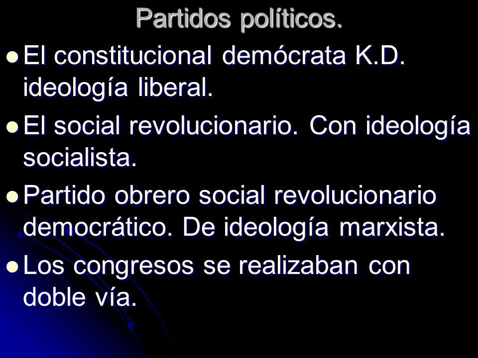 Partidos políticos.El constitucional demócrata K.D. ideología liberal. El social revolucionario. Con ideología socialista.
