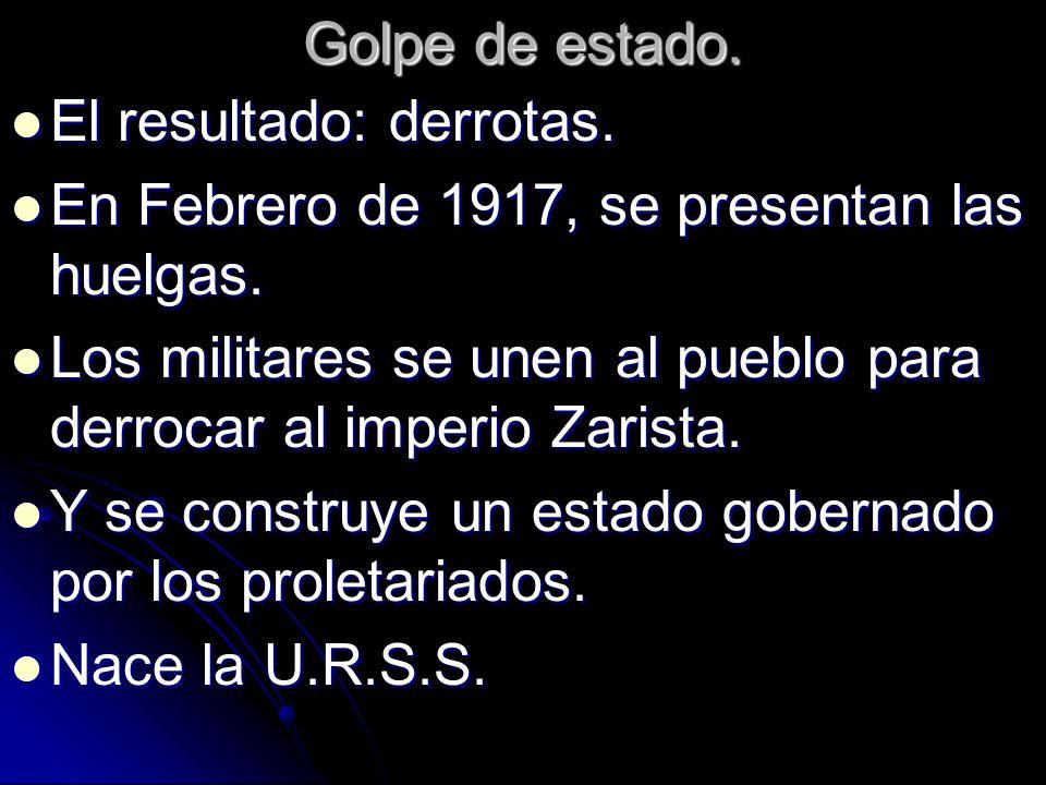Golpe de estado.El resultado: derrotas. En Febrero de 1917, se presentan las huelgas.