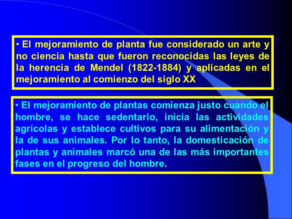 El mejoramiento de planta fue considerado un arte y no ciencia hasta que fueron reconocidas las leyes de la herencia de Mendel (1822-1884) y aplicadas en el mejoramiento al comienzo del siglo XX