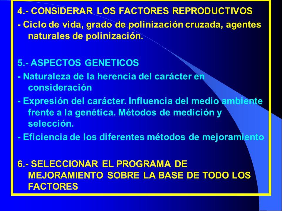 4.- CONSIDERAR LOS FACTORES REPRODUCTIVOS