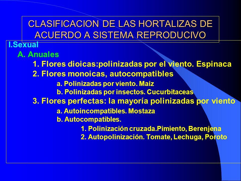 CLASIFICACION DE LAS HORTALIZAS DE ACUERDO A SISTEMA REPRODUCIVO