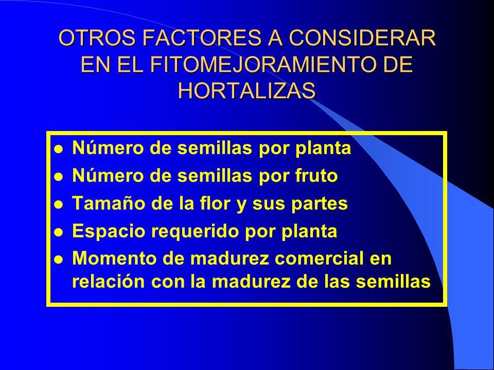 OTROS FACTORES A CONSIDERAR EN EL FITOMEJORAMIENTO DE HORTALIZAS