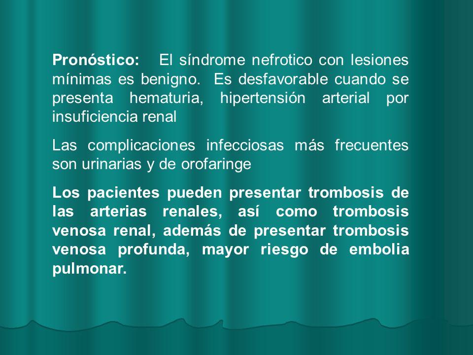 Pronóstico: El síndrome nefrotico con lesiones mínimas es benigno