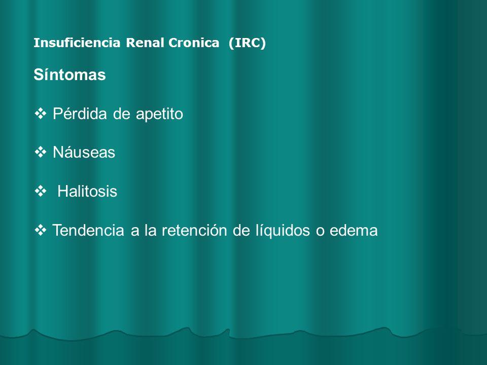 Tendencia a la retención de líquidos o edema