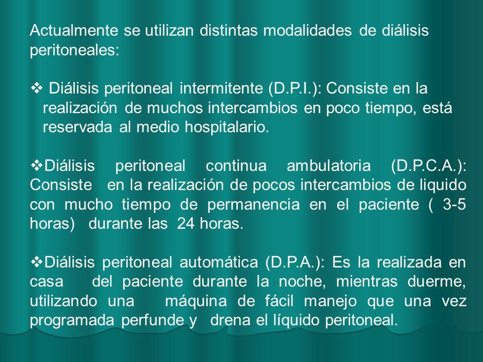 Actualmente se utilizan distintas modalidades de diálisis