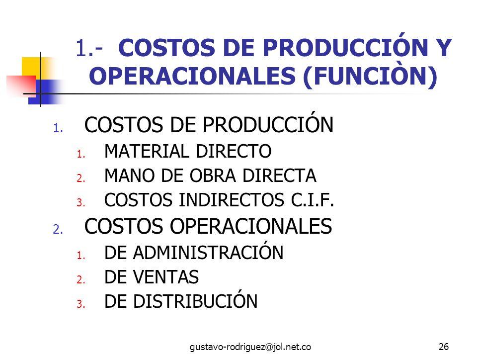 1.- COSTOS DE PRODUCCIÓN Y OPERACIONALES (FUNCIÒN)