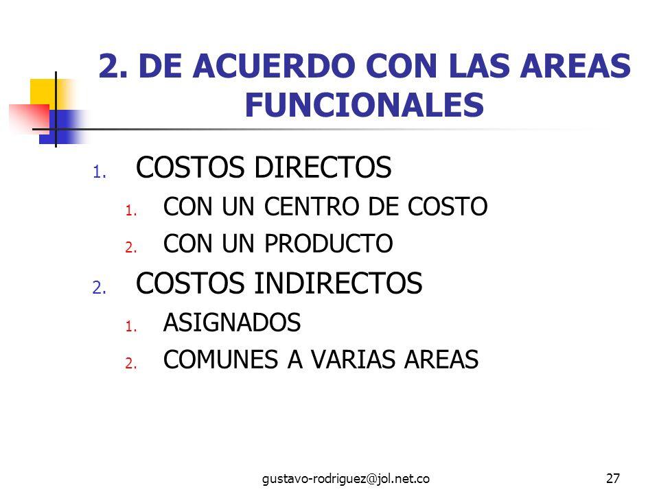 2. DE ACUERDO CON LAS AREAS FUNCIONALES