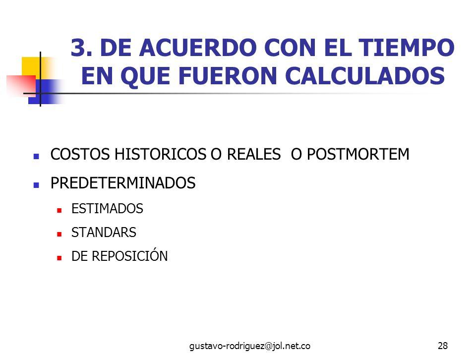 3. DE ACUERDO CON EL TIEMPO EN QUE FUERON CALCULADOS