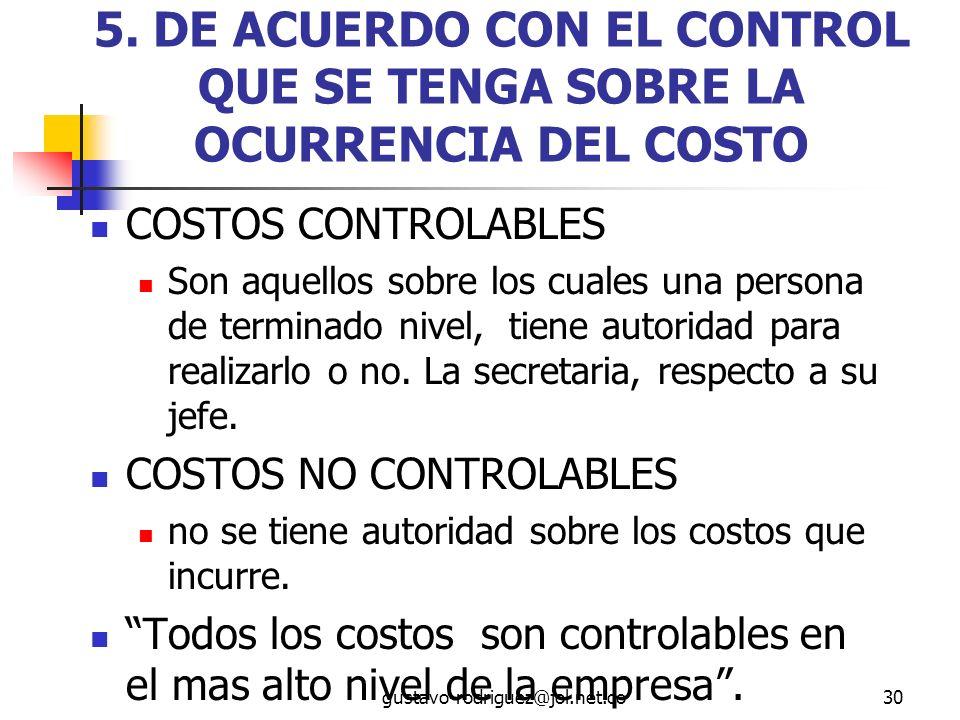 5. DE ACUERDO CON EL CONTROL QUE SE TENGA SOBRE LA OCURRENCIA DEL COSTO