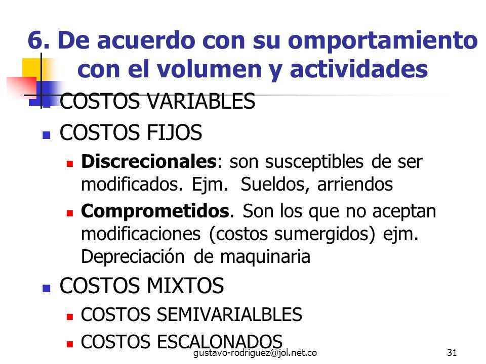 6. De acuerdo con su omportamiento con el volumen y actividades