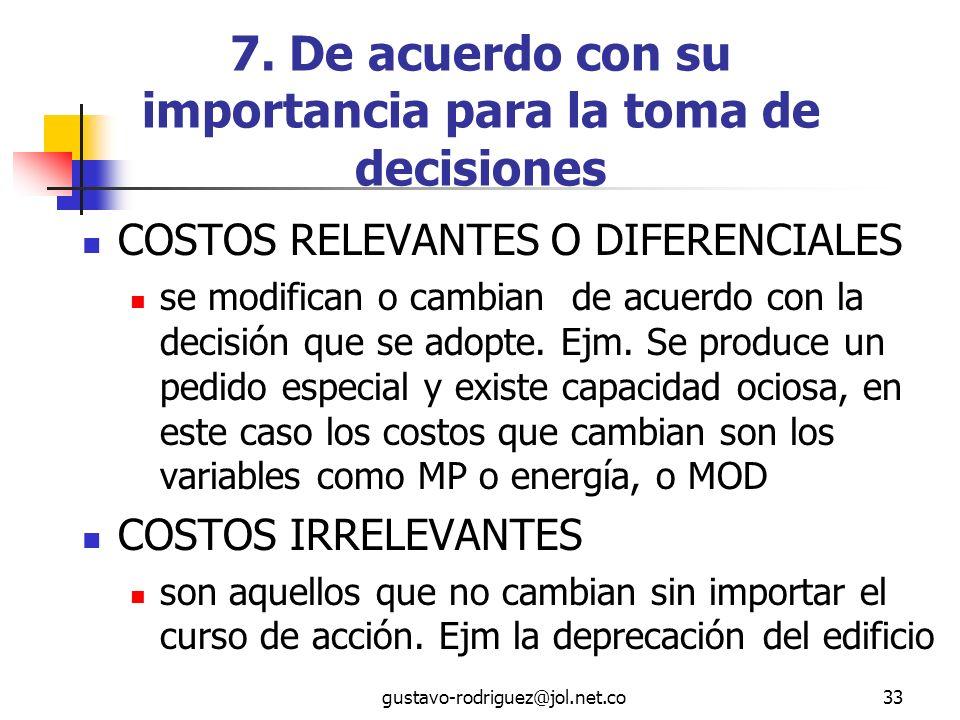 7. De acuerdo con su importancia para la toma de decisiones
