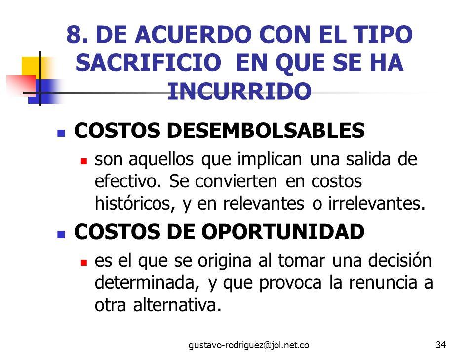 8. DE ACUERDO CON EL TIPO SACRIFICIO EN QUE SE HA INCURRIDO