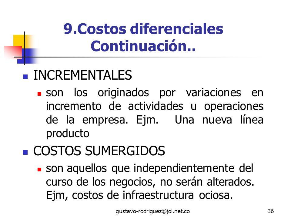 9.Costos diferenciales Continuación..