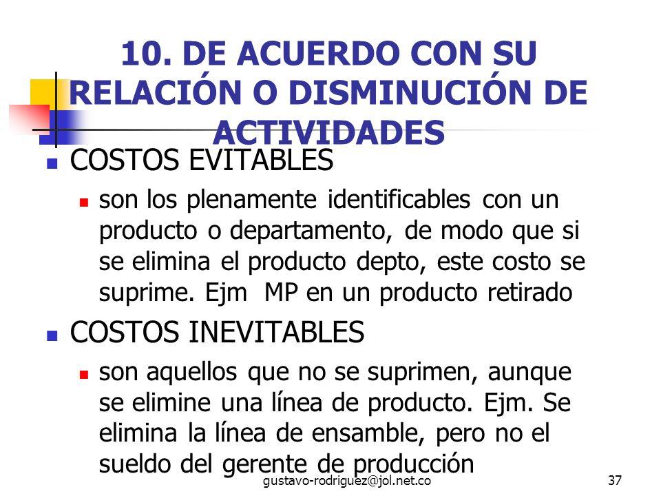 10. DE ACUERDO CON SU RELACIÓN O DISMINUCIÓN DE ACTIVIDADES