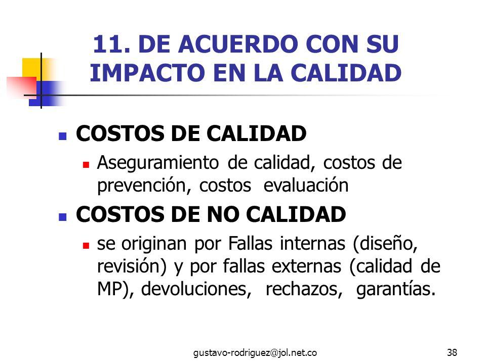 11. DE ACUERDO CON SU IMPACTO EN LA CALIDAD