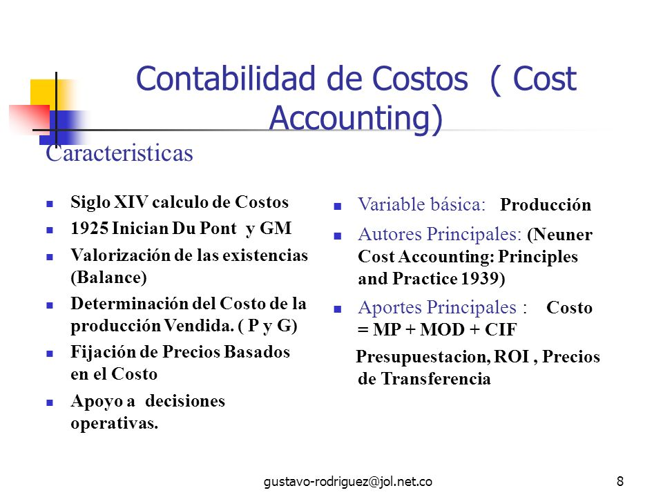 Contabilidad de Costos ( Cost Accounting)