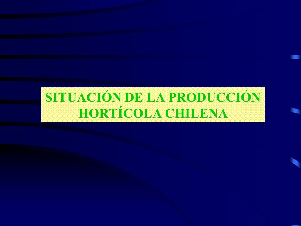 SITUACIÓN DE LA PRODUCCIÓN HORTÍCOLA CHILENA