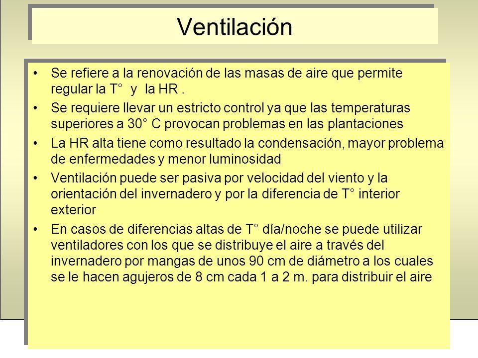 VentilaciónSe refiere a la renovación de las masas de aire que permite regular la T° y la HR .