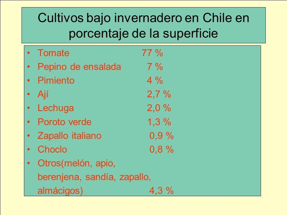 Cultivos bajo invernadero en Chile en porcentaje de la superficie