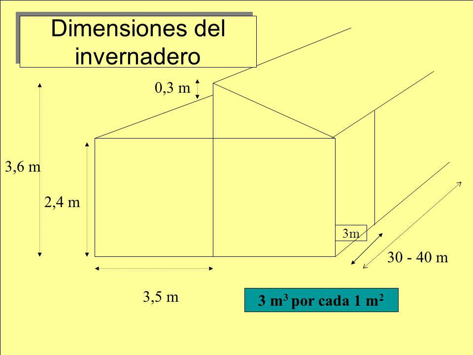 Dimensiones del invernadero