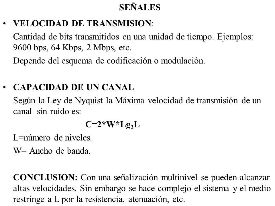 SEÑALES VELOCIDAD DE TRANSMISION: Cantidad de bits transmitidos en una unidad de tiempo. Ejemplos: 9600 bps, 64 Kbps, 2 Mbps, etc.