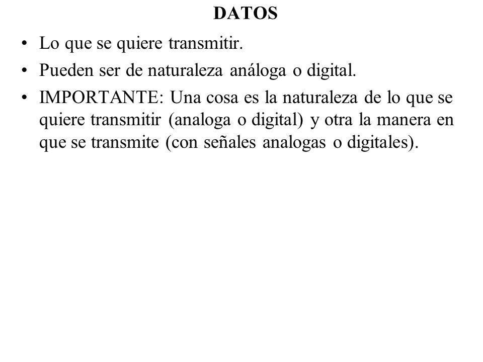 DATOSLo que se quiere transmitir. Pueden ser de naturaleza análoga o digital.