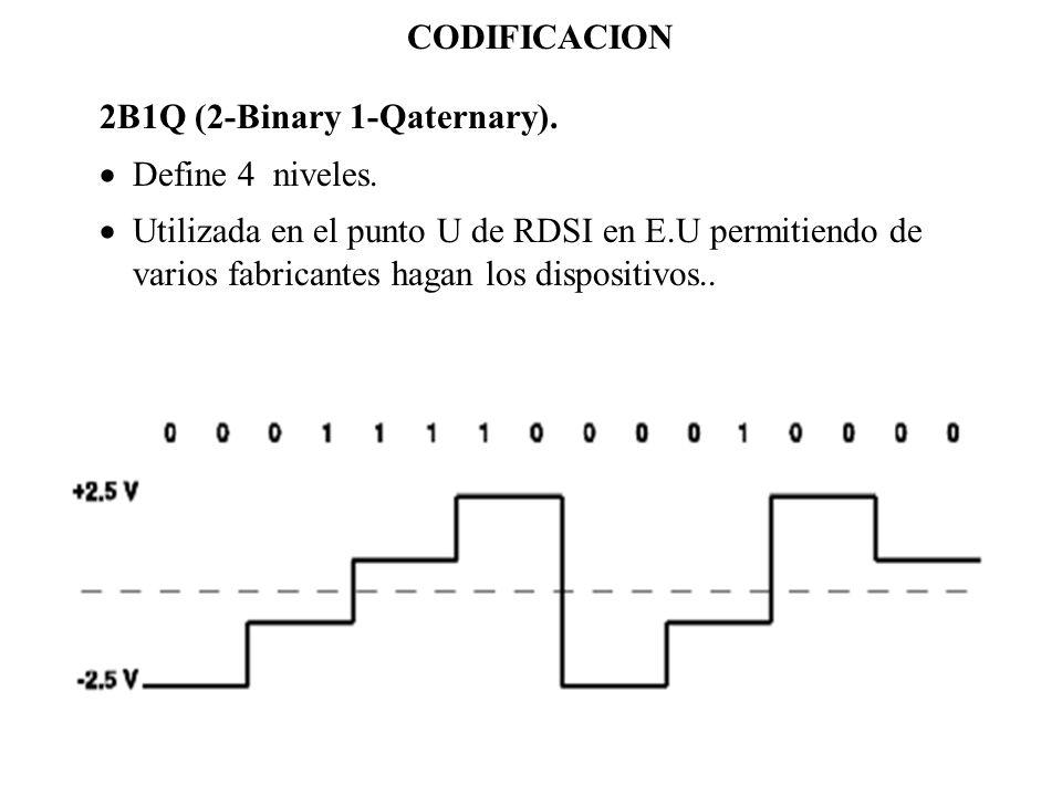 CODIFICACION 2B1Q (2-Binary 1-Qaternary). Define 4 niveles.