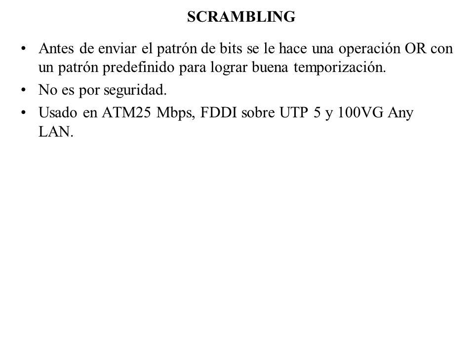 SCRAMBLING Antes de enviar el patrón de bits se le hace una operación OR con un patrón predefinido para lograr buena temporización.