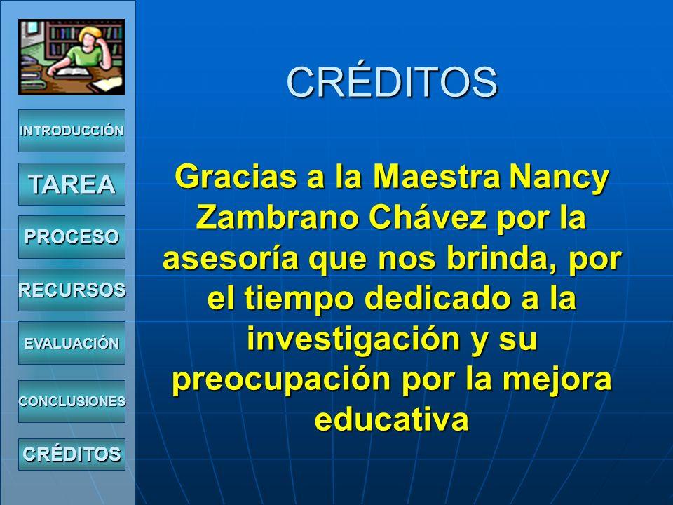 CRÉDITOS Gracias a la Maestra Nancy Zambrano Chávez por la asesoría que nos brinda, por el tiempo dedicado a la investigación y su preocupación por la mejora educativa