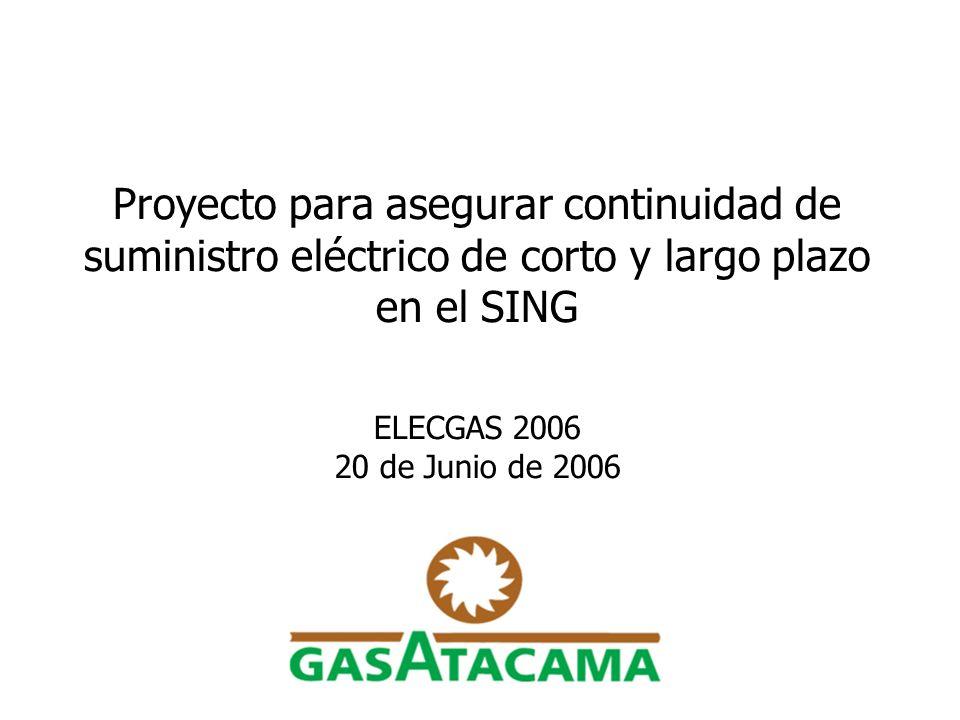 Proyecto para asegurar continuidad de suministro eléctrico de corto y largo plazo en el SING ELECGAS 2006 20 de Junio de 2006
