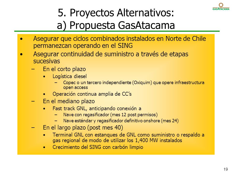 5. Proyectos Alternativos: a) Propuesta GasAtacama
