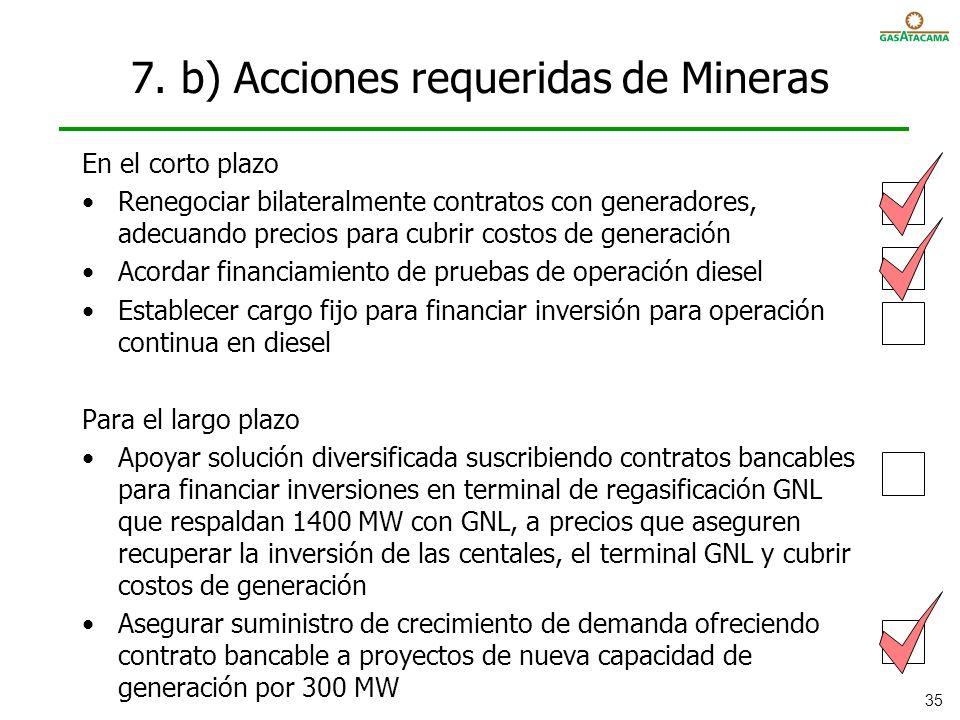 7. b) Acciones requeridas de Mineras