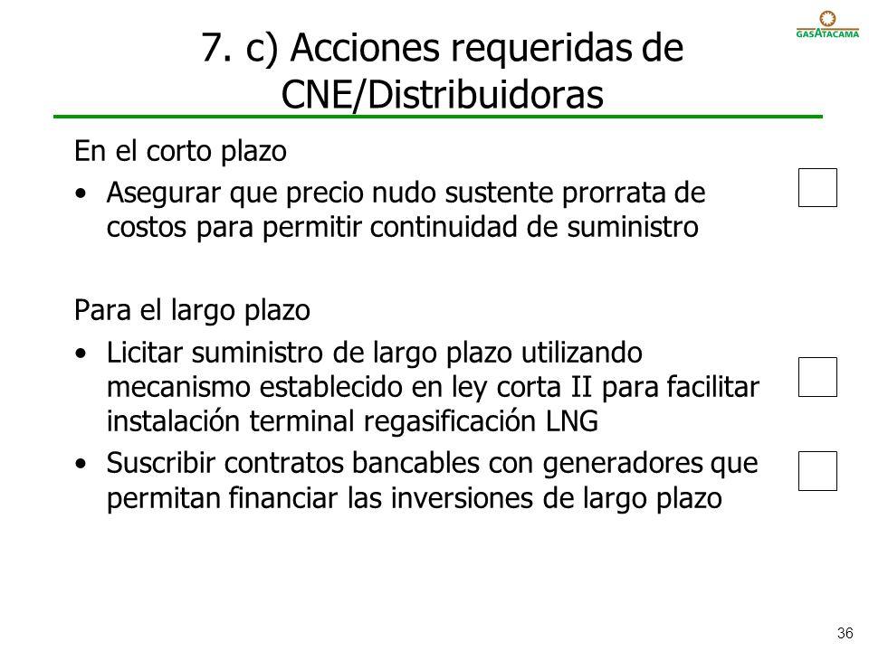 7. c) Acciones requeridas de CNE/Distribuidoras