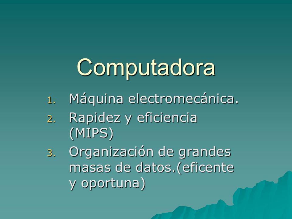 Computadora Máquina electromecánica. Rapidez y eficiencia (MIPS)