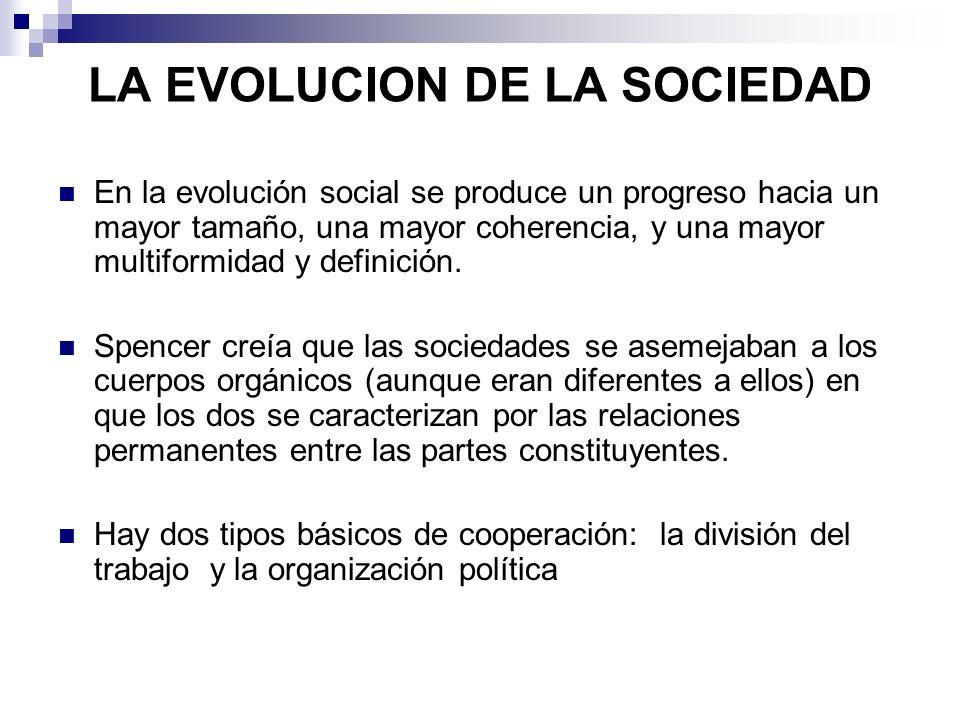 LA EVOLUCION DE LA SOCIEDAD