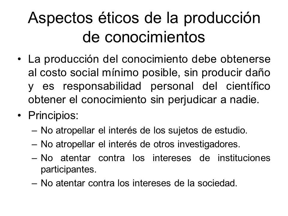 Aspectos éticos de la producción de conocimientos