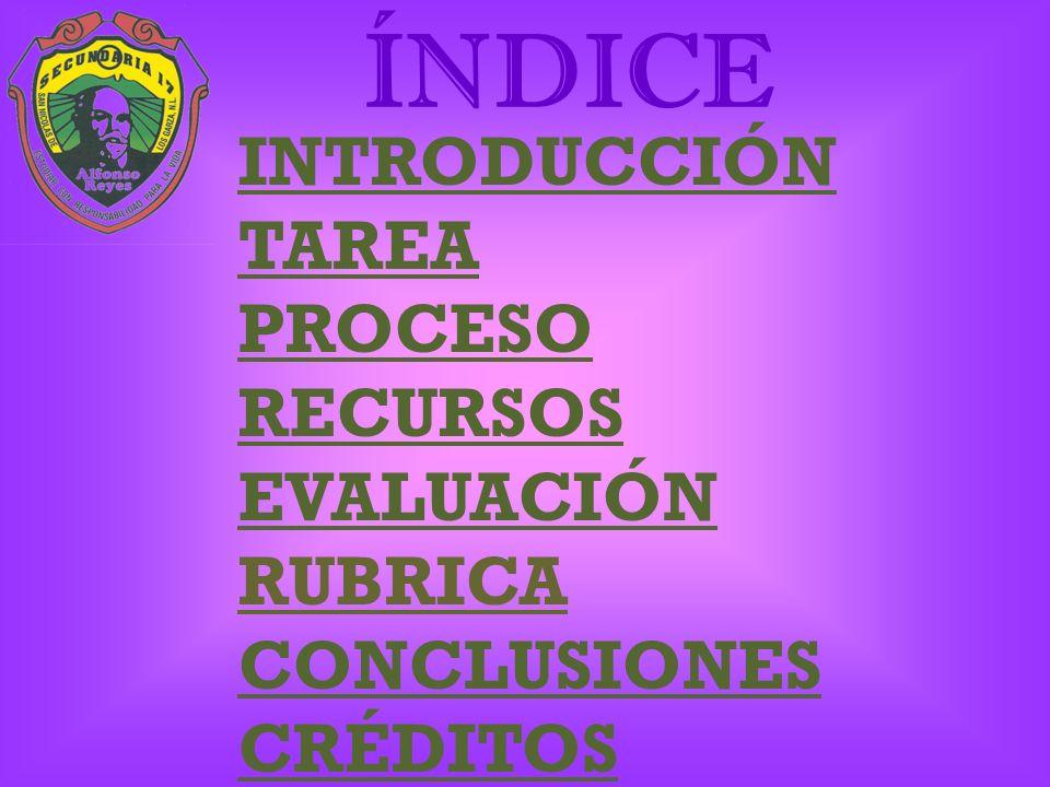 ÍNDICE INTRODUCCIÓN TAREA PROCESO RECURSOS EVALUACIÓN RUBRICA